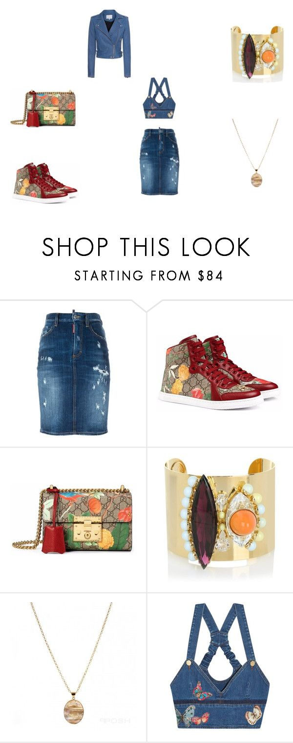 """""""Denim"""" by panicsam ❤ liked on Polyvore featuring Dsquared2, Gucci, Anton Heunis, Valentino and IRO"""