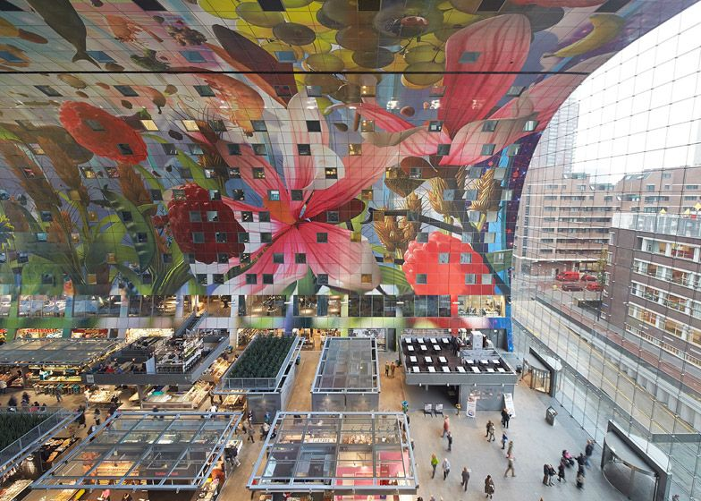 MVRDV designs The Markthal Rotterdam features the Netherlands' first covered market, sheltered beneath a 40-metre arch that contains 228 apartments, and is protected by glazed end walls.