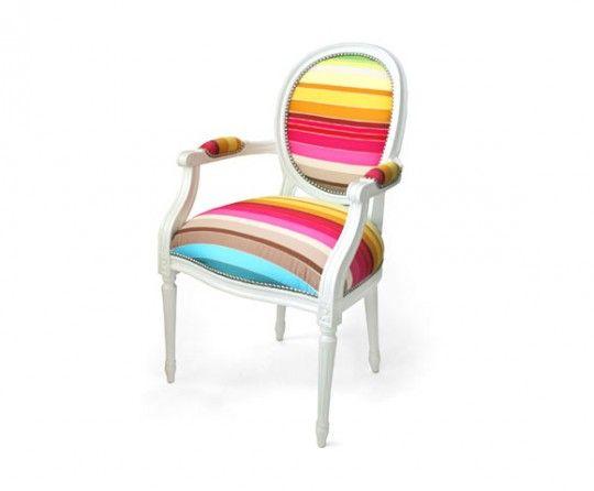 Fauteuil Louis XV Multicolore - Fauteuil multicolore design
