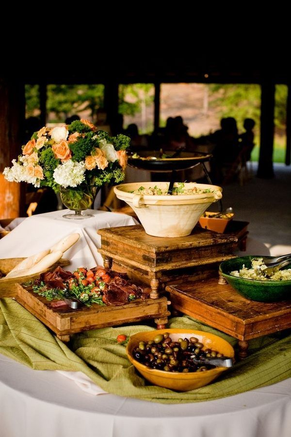 Elevated Buffet Table Displays Ideas Round Lunch Decorating Vertical Arrangement Food Rustic
