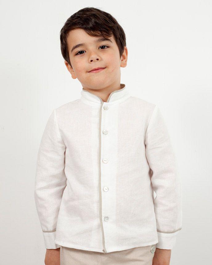 674da3d5ddcd Camisa cuello mao en lino blanco con ribetes en lino tostado y manga 3/4.