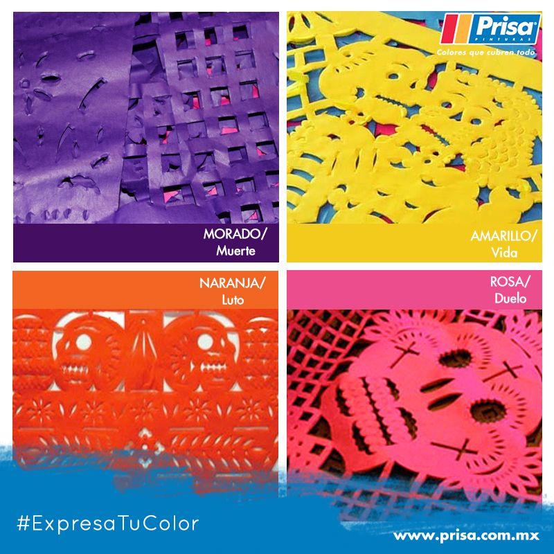 #DíaDeMuertos    El papel picado en el #AltarDeMuertos simboliza el viento. Esté es su significado por #colores: