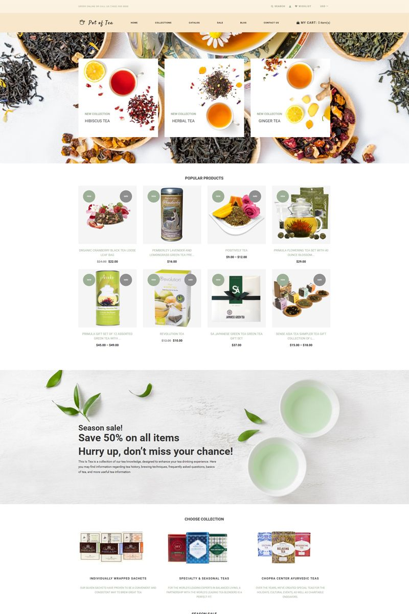 Pot of Tea - Tea Shop Multipage Clean Shopify Theme #77911 #teashops