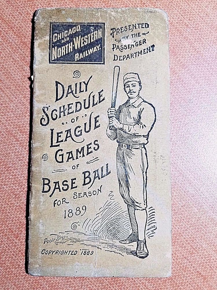 RARE 1889 Complete SCORED Baseball SCHEDULE BOOKLET Chicago