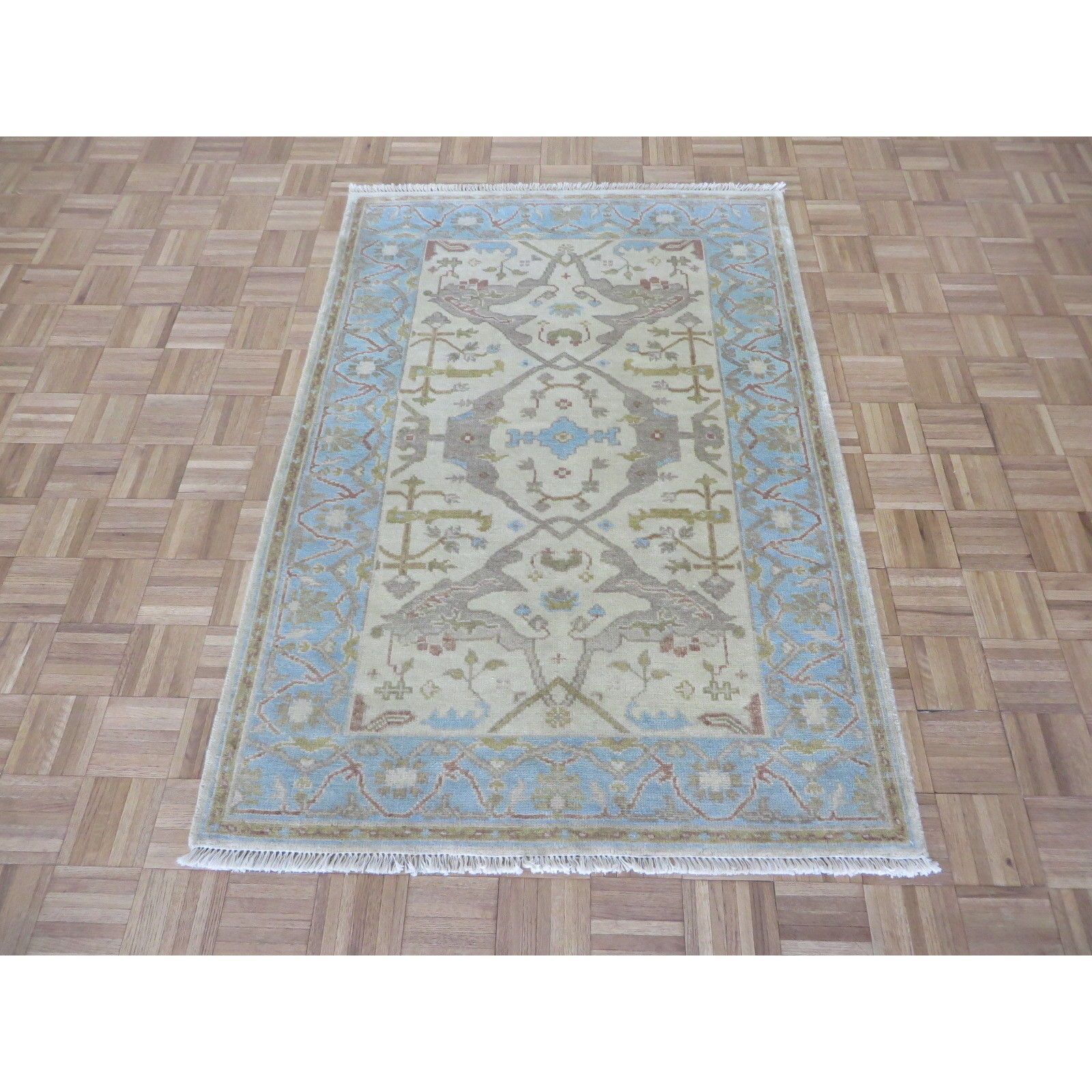 Hand Knotted Ivory Oushak With Wool Oriental Rug 4 X 6 4 X 6