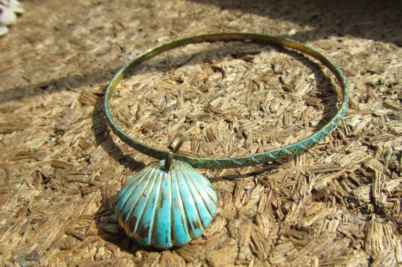 Hand patina Turquoise Clam Shell Bangle by Scentedlingerie,