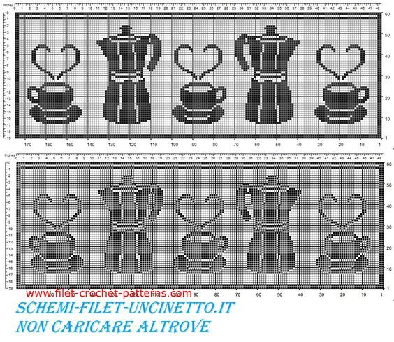 Free filet crochet pattern curtains with coffee pot and cups #filetcrochet