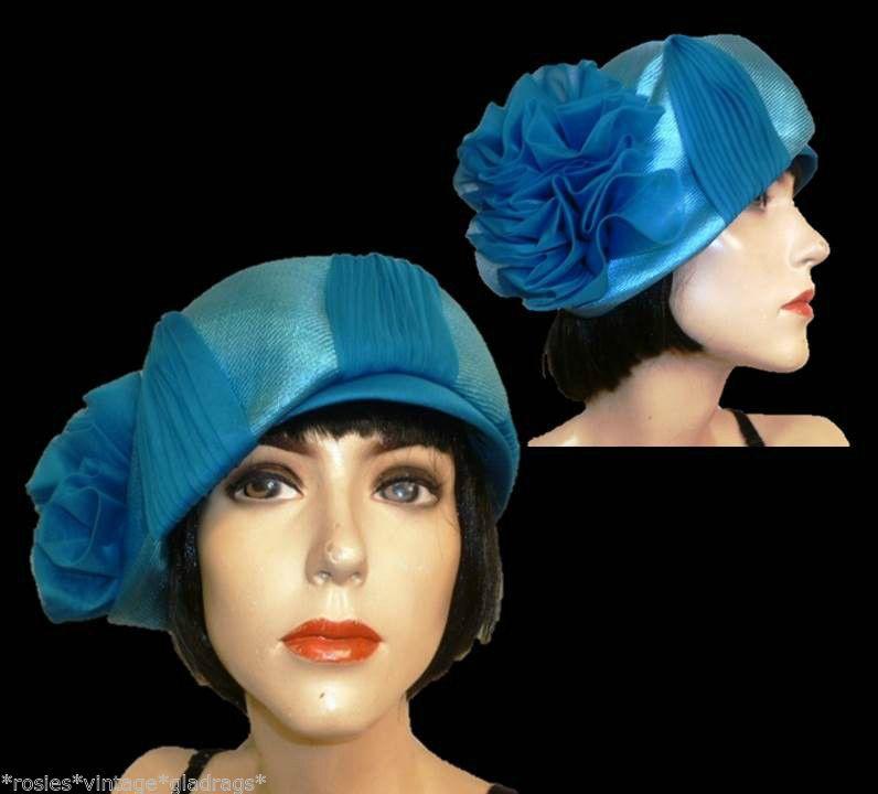"""ViNtAgE 1950s 60s blue fine straw Mitzi Lorenz cloche tilt hat Retro wedding 22"""""""