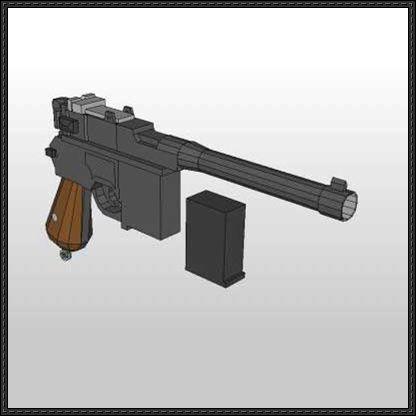 Mauser C12 Pistol Free Paper Model Download - http://www ...