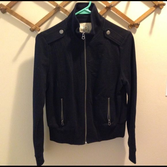 Black Cotton Bomber Jacket Black bomber jacket in a thinner sweatshirt material. Will keep you stylish and warm on a fall day! Only worn once. It's in excellent condition. Relativity Jackets & Coats