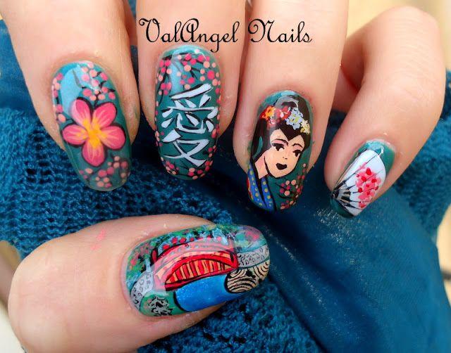 """Nail art """"Geisha""""    Per maggiori informazioni sul mio blog: http://valangelnails.blogspot.it/2012/11/nail-art-geisha.html"""