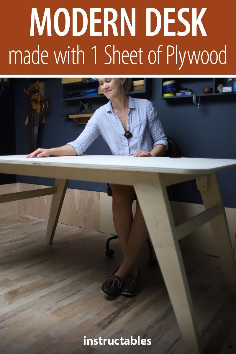 Diy Modern Desk Made W 1 Sheet Of Plywood In 2020 Modern Desk Flipping Furniture Furniture Design
