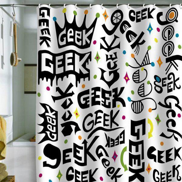 Geek Words Shower Curtain Geek Decor Geek Home Decor Geek Decor Geek Stuff