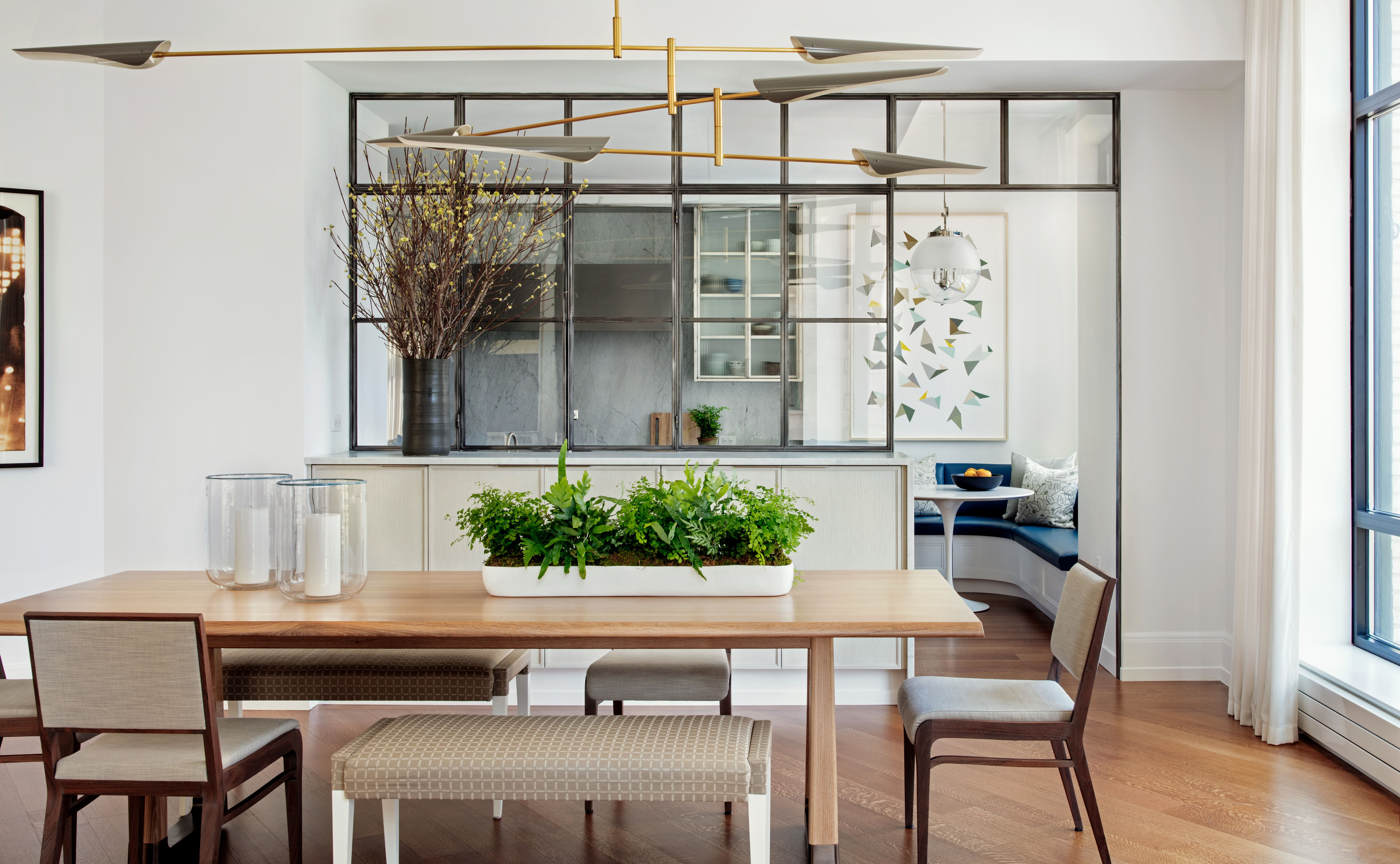 Contemporary Dining Room With Glass Wall Interior Windows