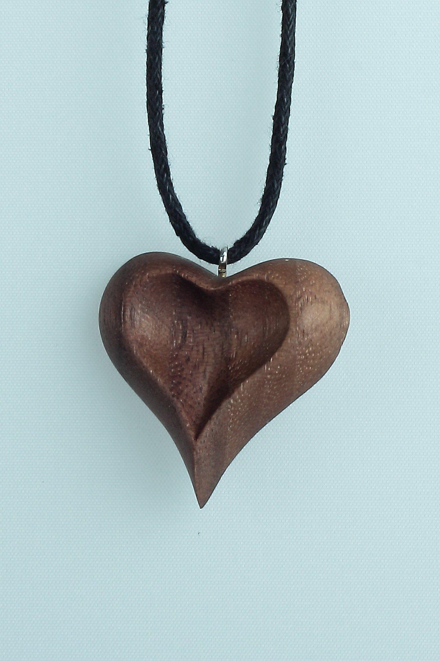 Wood Heart Pendant Wooden Heart Necklace Heart Necklace Hand Carved Pendant Wood Necklace Heart Jewelry Wooden Heart Pendant Wooden Jewelery Wood Necklace Pendant