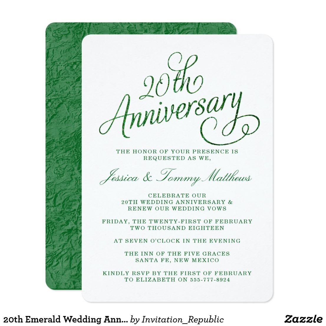 20th Emerald Wedding Anniversary Invitations | Emerald wedding ...