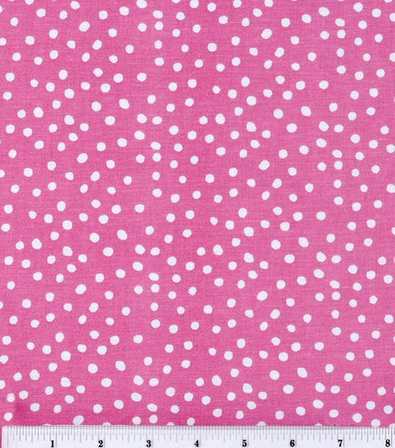 100/% Cotton Fabric ~ Metallic Pink Spots on Pink ~ Cotton Craft Material