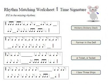 Free music theory worksheet: fill in missing rhythm in popular ...