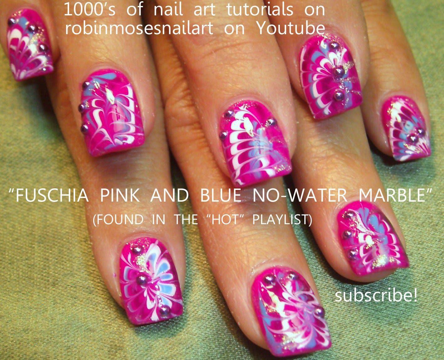 no water marble nail art\