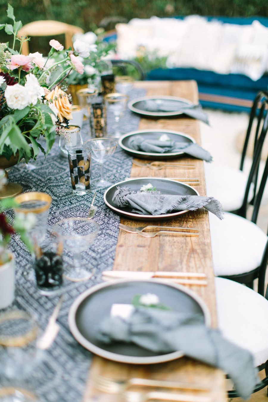 Sink those pearly whites into these dentists big day pinterest alfresco tablescape with bohemian navy table runner and gold tabletop accessories photography the grovers junglespirit Image collections