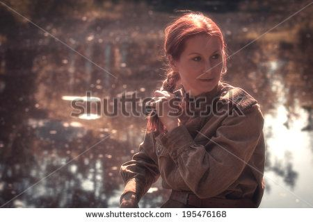 Young woman wearing Red Army form of 1943 year Defocused effect - army form