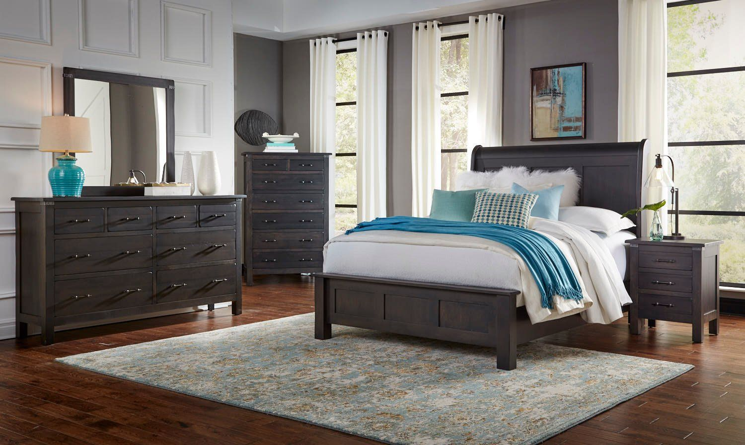 Rustic Distressed Cherry 4 Piece King Bedroom Set Colin