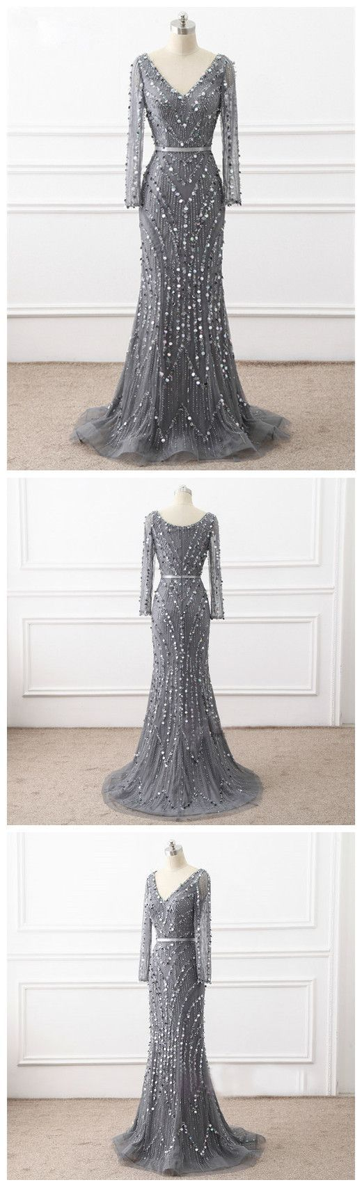 Custom made dazzling prom dresses long long sleeves prom dresses in
