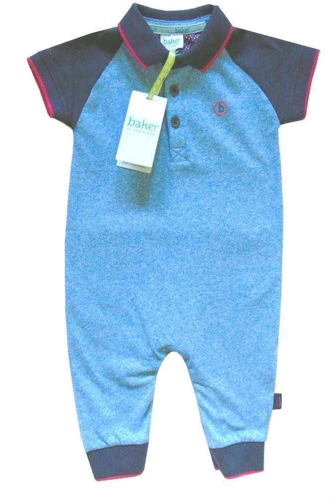 baf46db135b98e Ted Baker Baby Boys Polo Romper Bodysuit Sleepsuit Blue Designer 6-9 Months