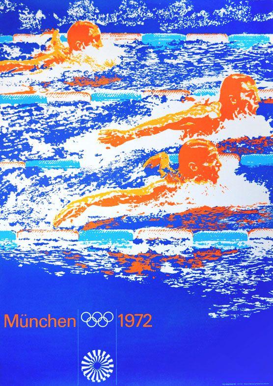 Olympische Spiele 1972 München Motiv Schwimmen Pl. DIN A0 ...