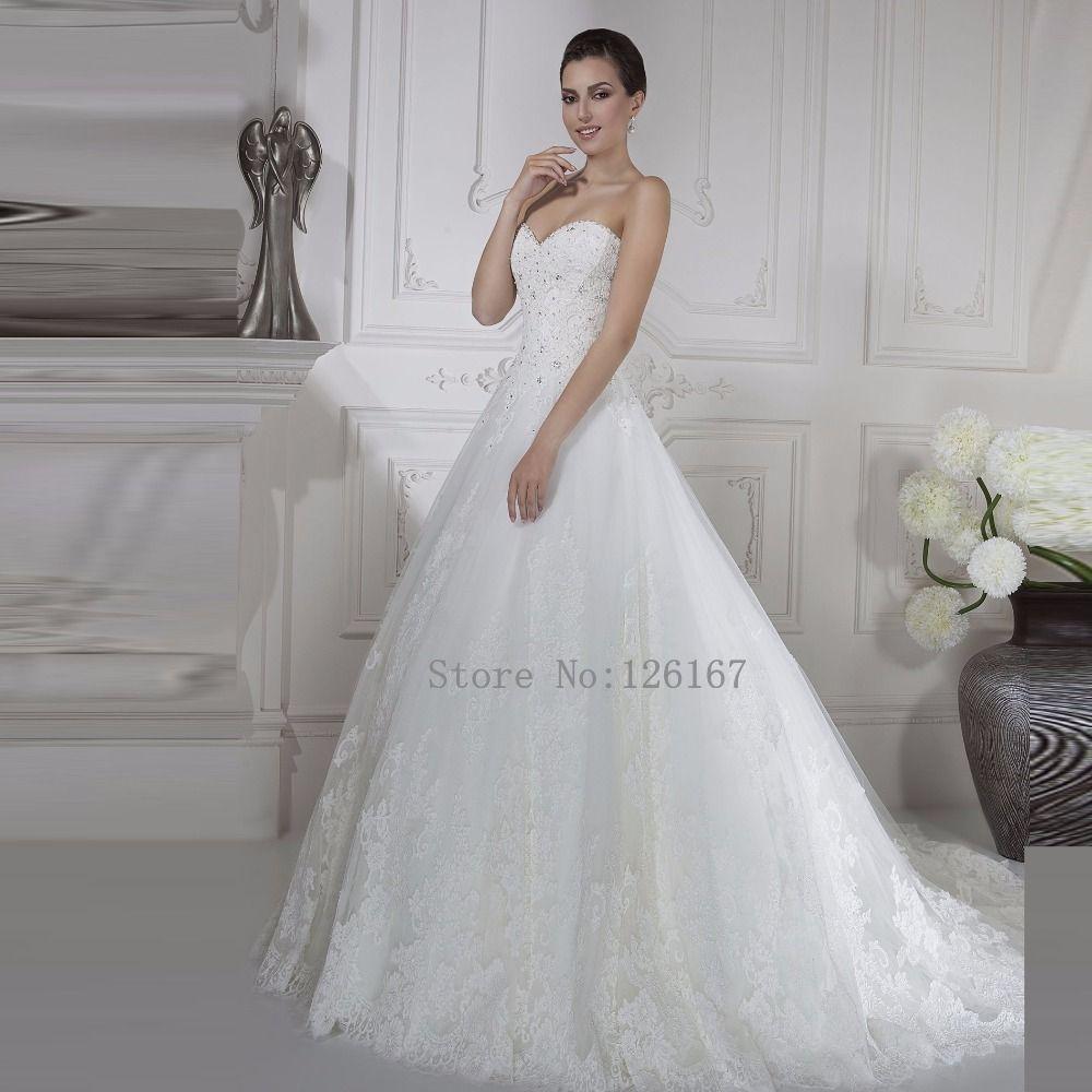 Aliexpress Com Buy White Sweetheart Neck Long Lace Wedding Dresses Sleeveless Empi Lace Wedding Dress Sleeveless Wedding Dresses Beaded Wedding Dress Sleeves