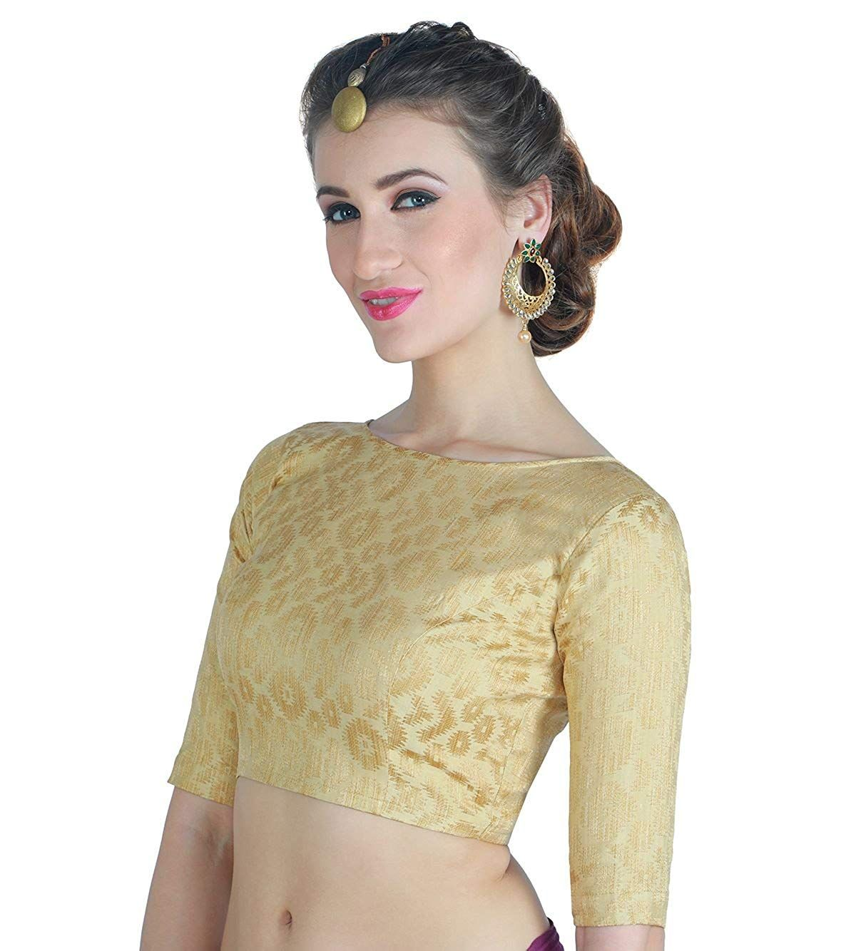 6beefae8f55b18 Studio Shringaar Women's Golden Brocade Saree Blouse.: Amazon.in: Clothing  & Accessories