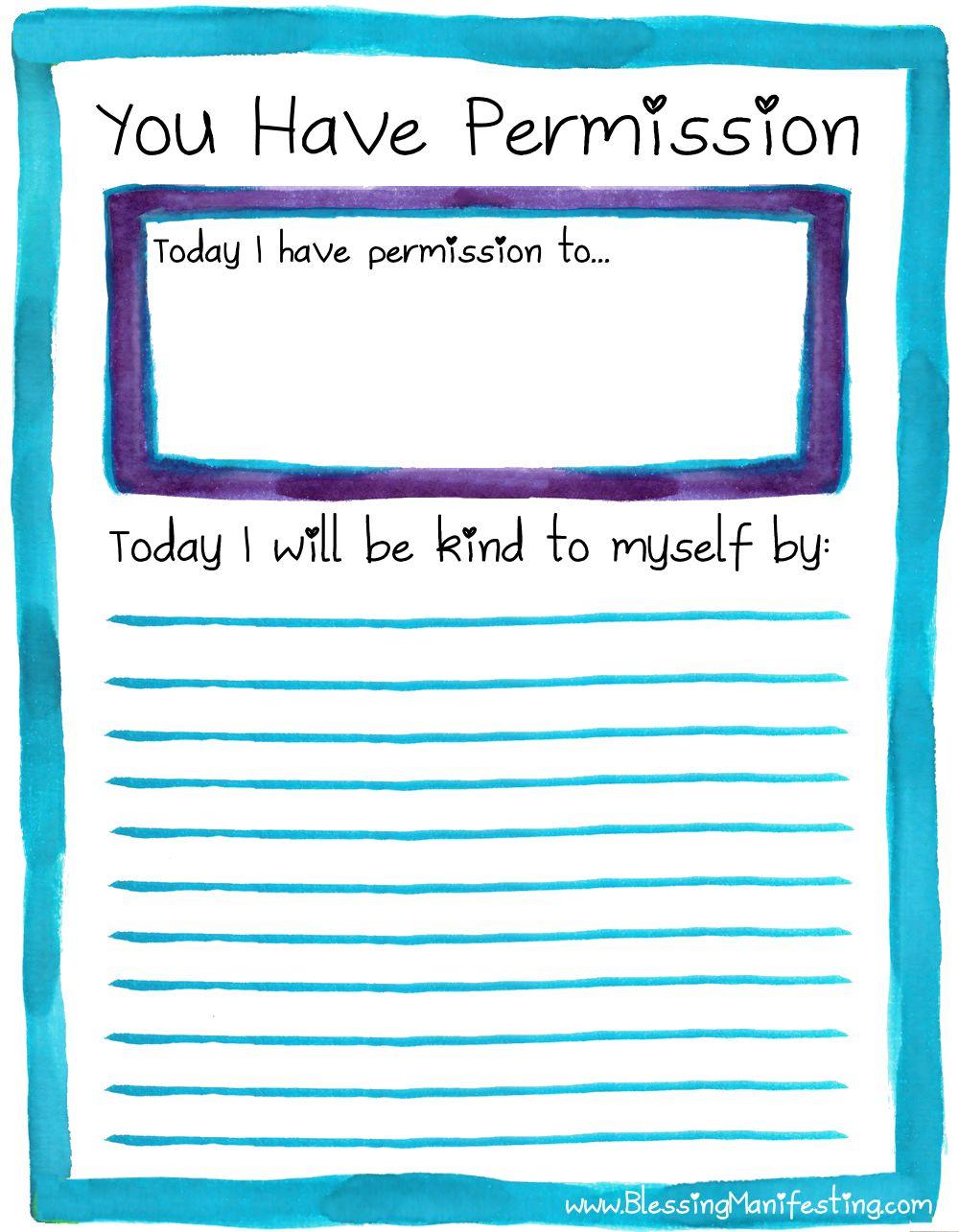 Permission Slip For Self Care Self Care Mental Health