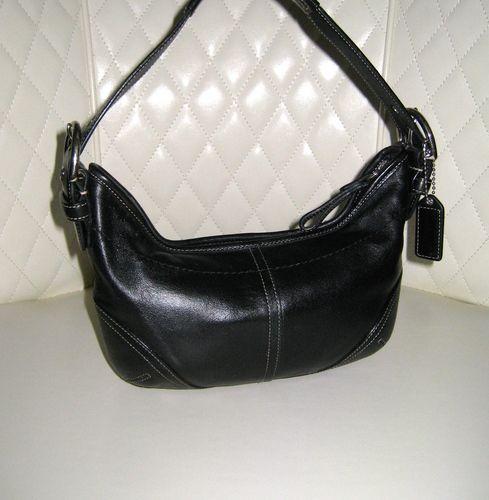 1951cc43fee92 I'm auctioning 'COACH Soho Black Leather Small Hobo Bag ' on #tophatter