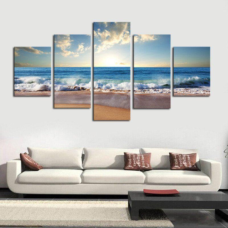 No Frame 5 Piece The Sea Beach Modern Wall Decor Canvas Art Print Painting