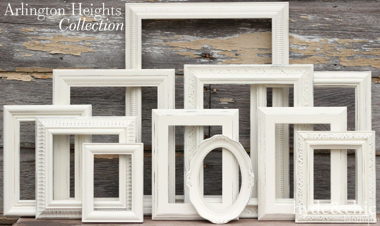 Good Shabby Chic Decor / Upcycled Distressed Picture Frame Set / Antique White  Frames / Gallery Wall