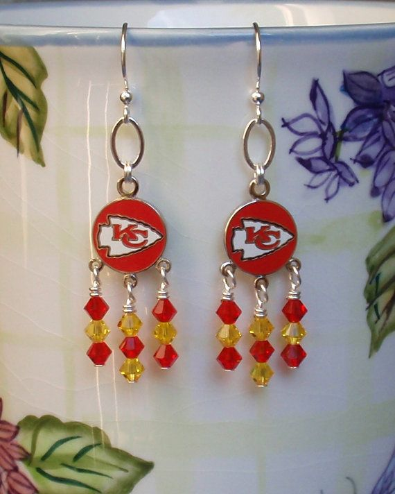 3a47fdb6981 Kansas City Chiefs Inspired Red and Gold Crystal Hail to the Chiefs Earrings