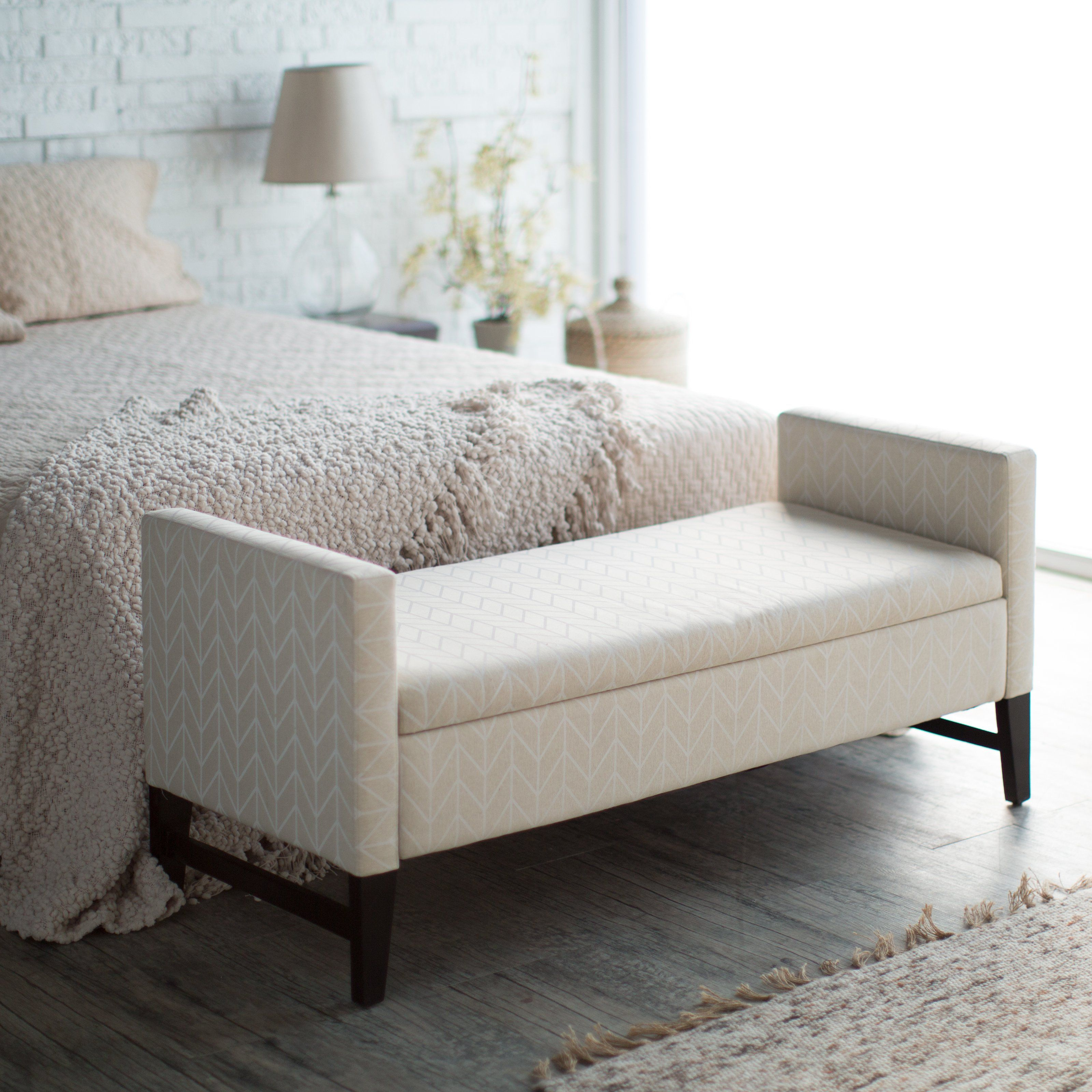 Terrific Favored White Upholstery Modern Bedroom Benches On Grey Wood Machost Co Dining Chair Design Ideas Machostcouk