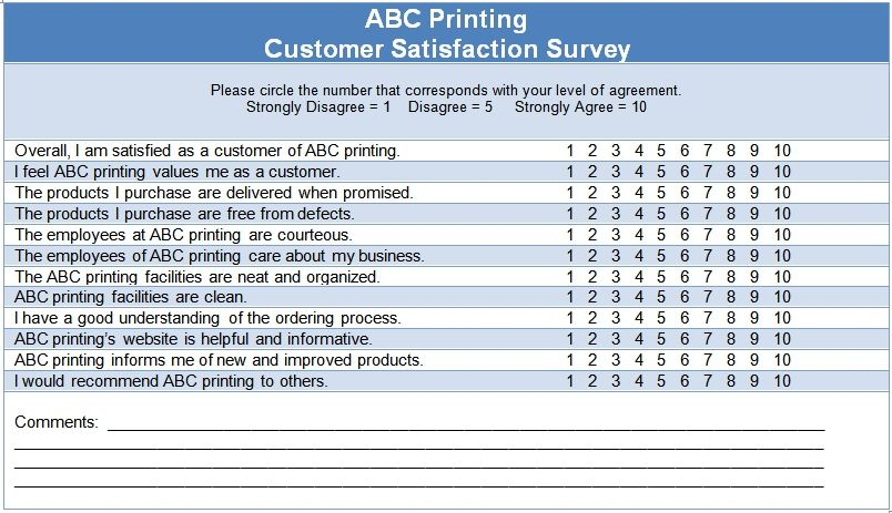Customer Satisfaction Questionnaire Template Miscellaneous