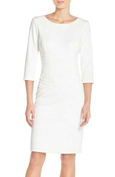 Bridal Shower Ellen Tracy Seamed Ponte Sheath Dress (Regular & Petite) available at #Nordstrom