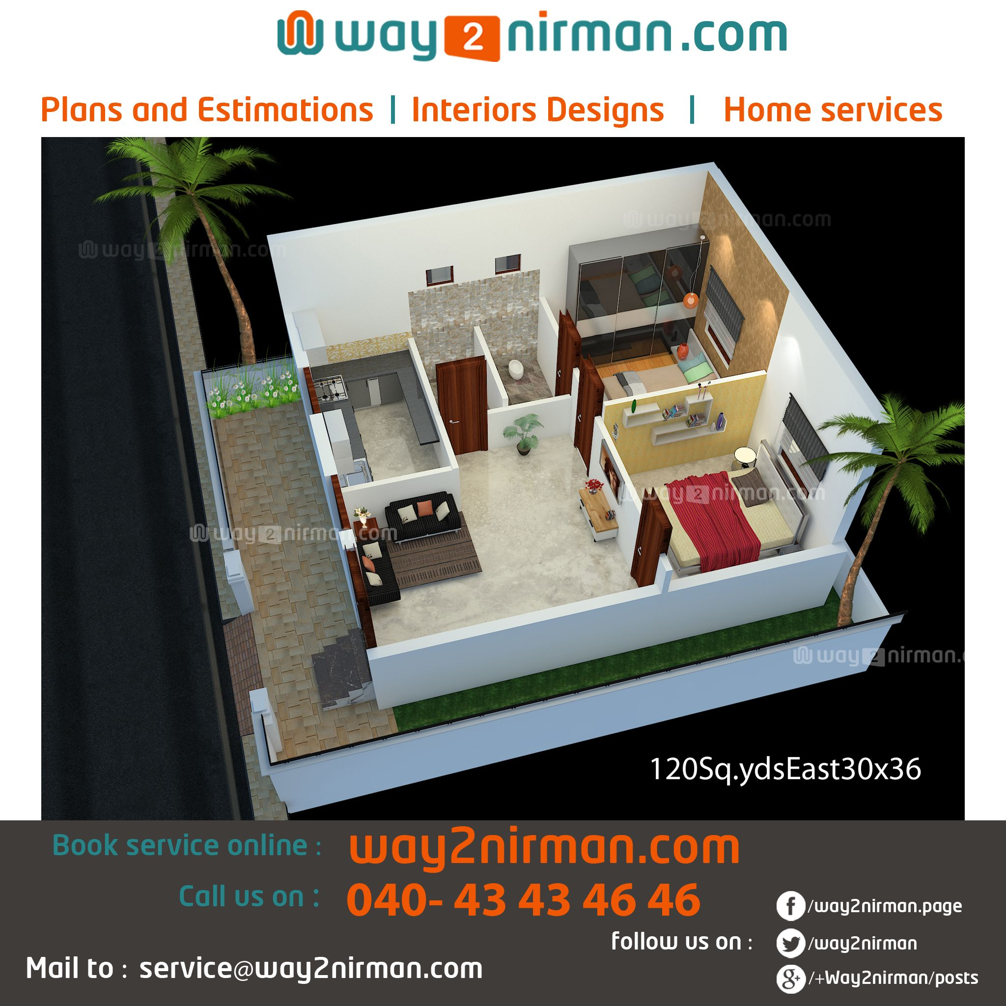 Front Elevation 120 Yards : Sq yards sqft bhk east face house