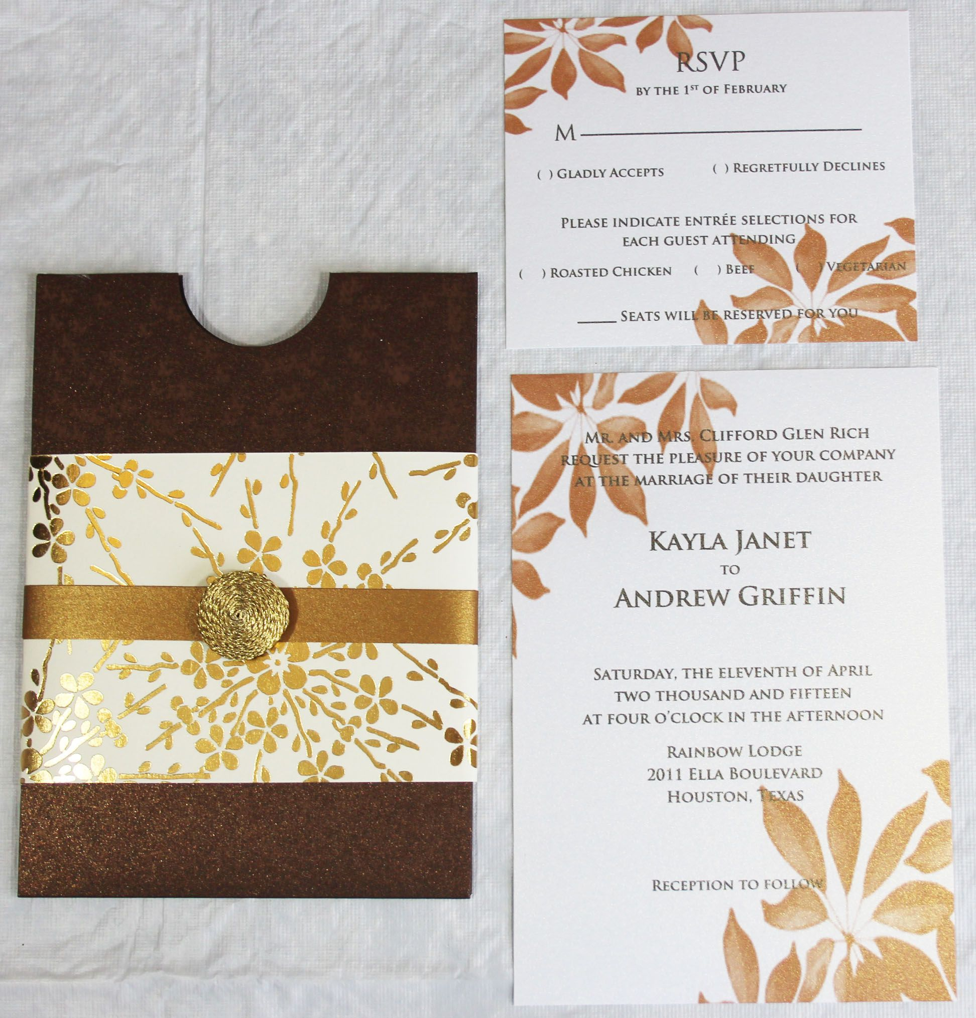 bronze metallic pocket sleeve invitation with gold embellishment and ...
