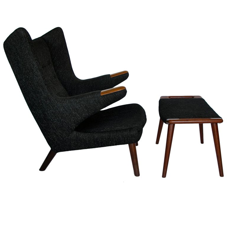 Amazing Original Hans Wegner Papa Bear Chair And Ottoman Ibusinesslaw Wood Chair Design Ideas Ibusinesslaworg