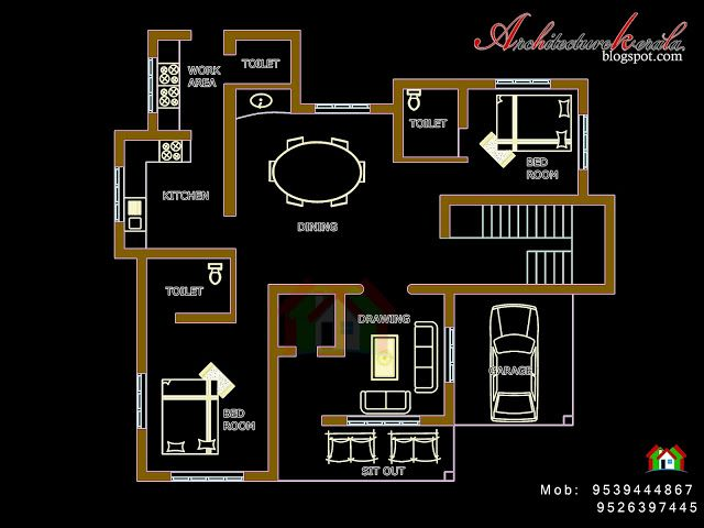 Architecture Kerala Four Bed Room House Plan Kerala House Design Budget House Plans 2bhk House Plan