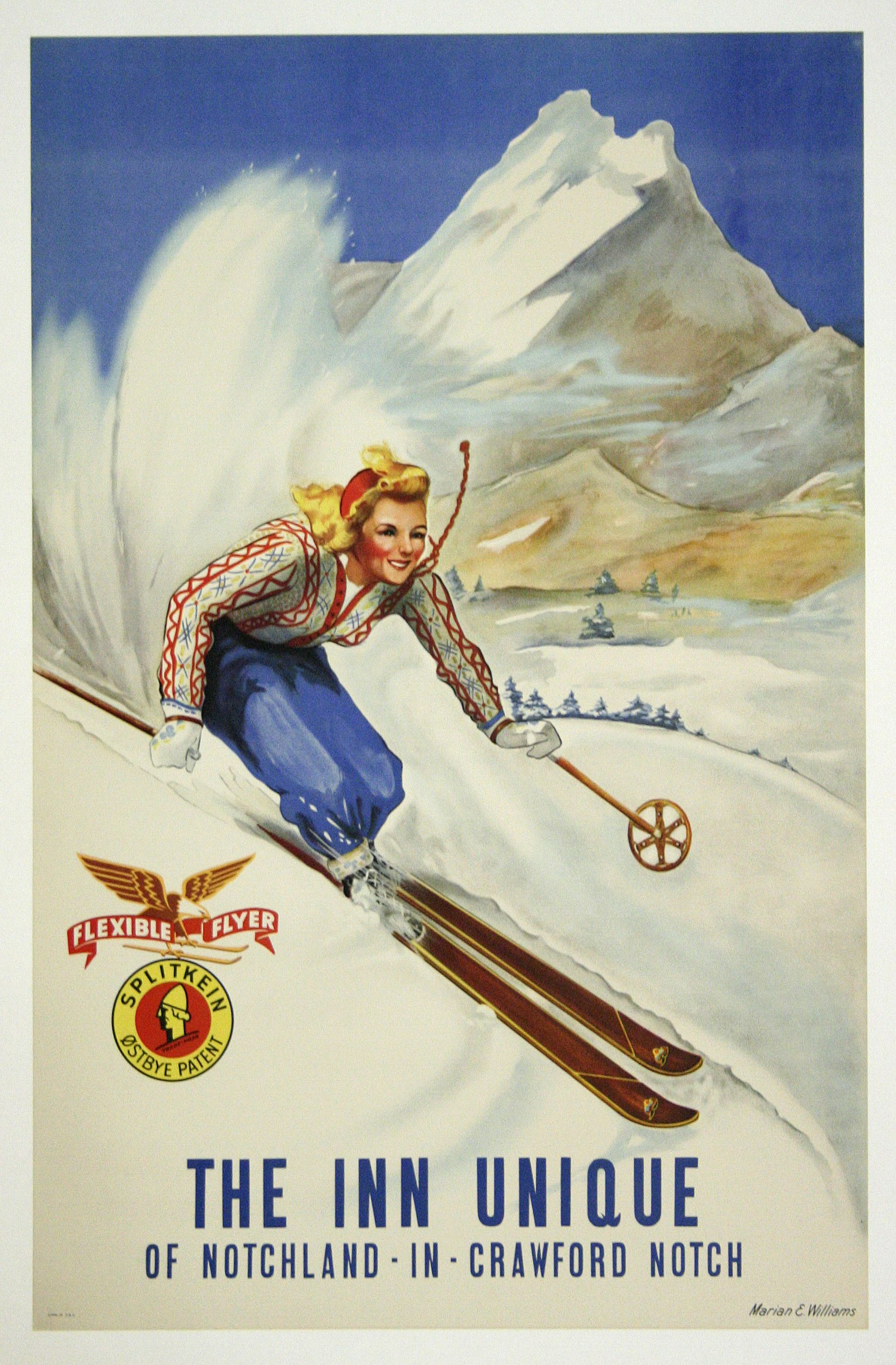 POSTER 1948 WINTER SPORT LAKE TAHOE SKIING COUPLE SKI USA VINTAGE REPRO FREE S//H
