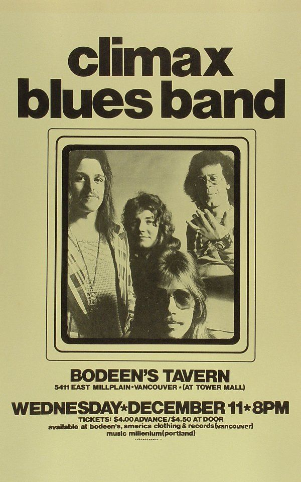 Climax Blues Band Poster from Bodeen's Tavern on 11 Dec 74
