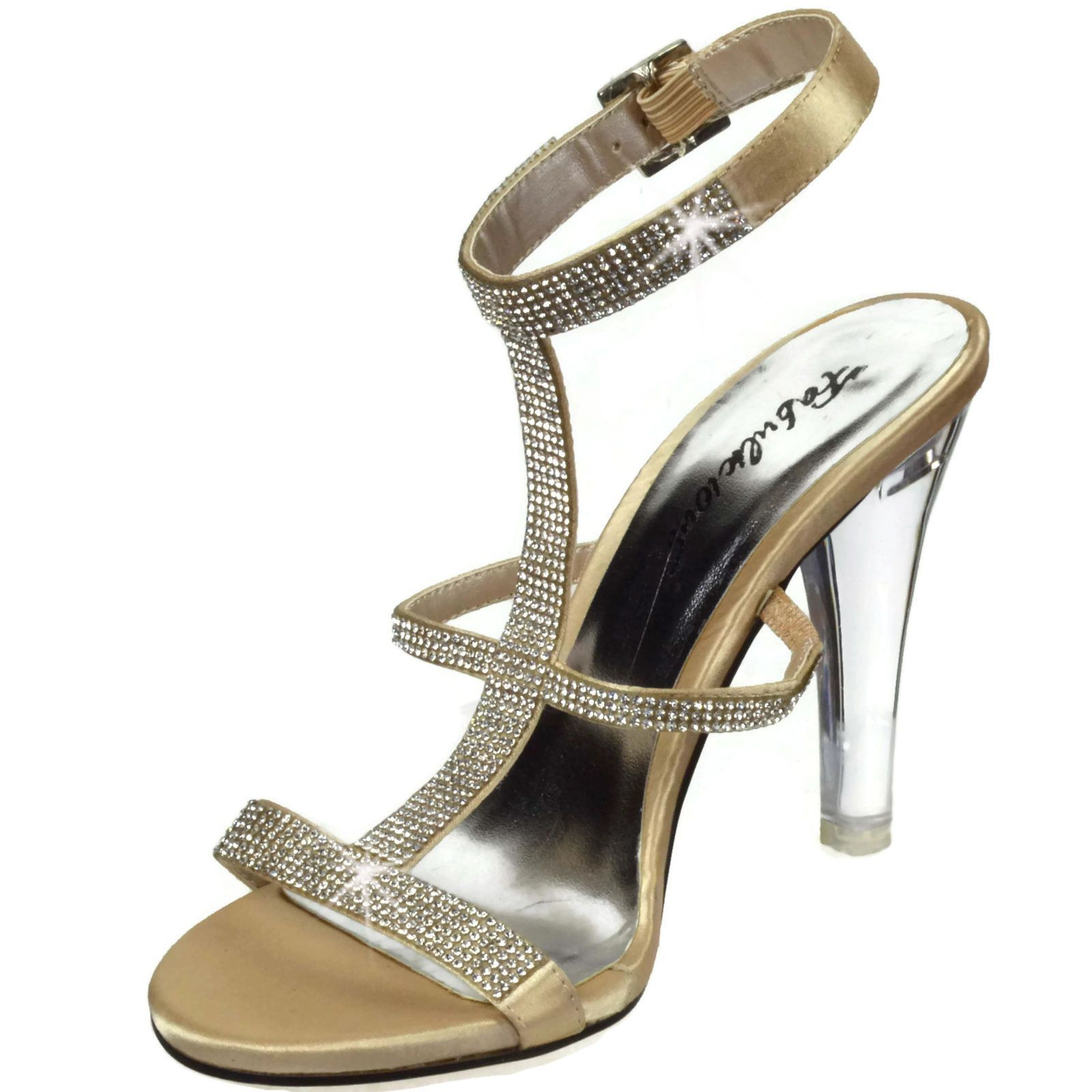 Fabulicious Womens Heels Satin Sandals Rhinestones Clearly-418 Champagne