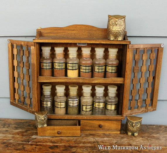 Rustic Style Wooden Spice Rack with by