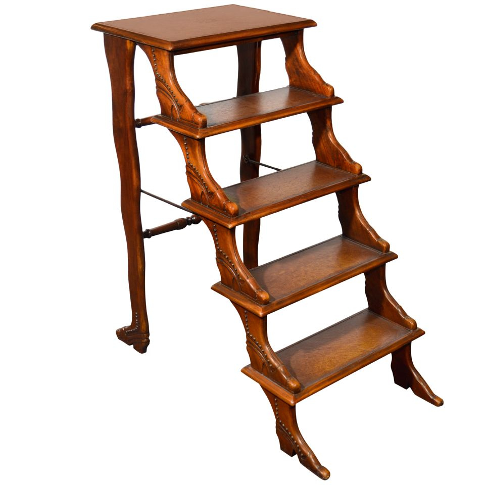 Mahogany Library Steps With Shoe Motif England Late 19th Early 20th Century Real Wood Furniture Regency Furniture Cheap Furniture