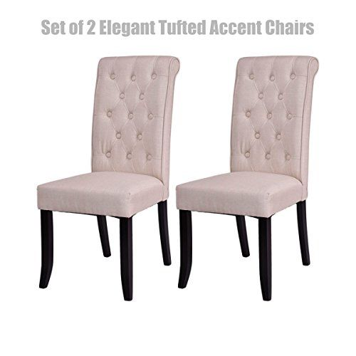 Elegant Tufted Accent Dining Chairs Breathable Soft Fabric ...