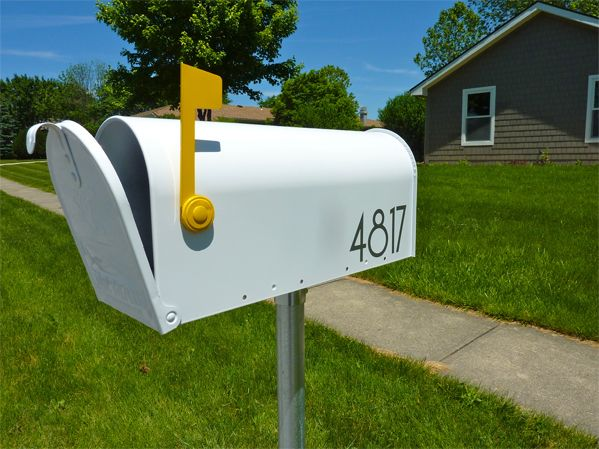 Mailbox Design Ideas mailbox garden spruce up your mailbox with some flowers by creating a base garden with Mailbox With Yellow Flag And Modern Number Decals
